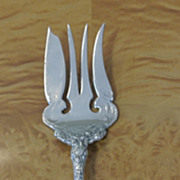 Solid STERLING Silver Repousse Meat Fork Trumpet Flowers