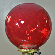 Vintage Ruby Red Swirled GWTW Banquet Globe Shade for Oil, Gas or Elec. Lamp NOS