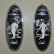2 Vintage Oval 36&quot; Oriental Lacquered Applied Carved Figural Geisha Panels