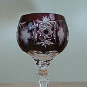 Vintage BOHEMIAN Hobstar Grape Pattern Cranberry Cut To Clear Wine Glass