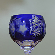Vintage BOHEMIAN Hobstar Grape Pattern Cobalt Cut To Clear Wine Glass