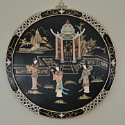 "Vintage Round 22"" Oriental Lacquered Applied Carved Figural Geisha Panel"