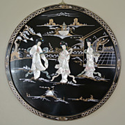 "Vintage Large Round 30"" Oriental Lacquered Applied Carved Figural Geisha Panel"