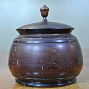 Antique Large Treenware PEASEWARE Covered Jar Vessel Container 7 1/2""