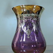 Vintage BOHEMIAN Hand Blown Purple Goblet Vase Heavy Gold Overlay Venetian Design