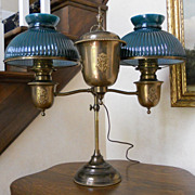 BRADLEY & HUBBARD Double Arm Adjustable Brass Student Lamp Flame Finial New Shades