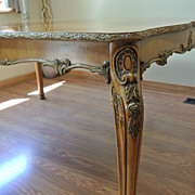 Louis XV Burled Wood Veneer Carved Queen Ann Leg Dining Table