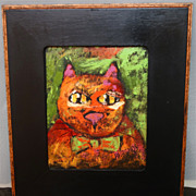 Elaine Anagnos  Modern Cat Oil Painting