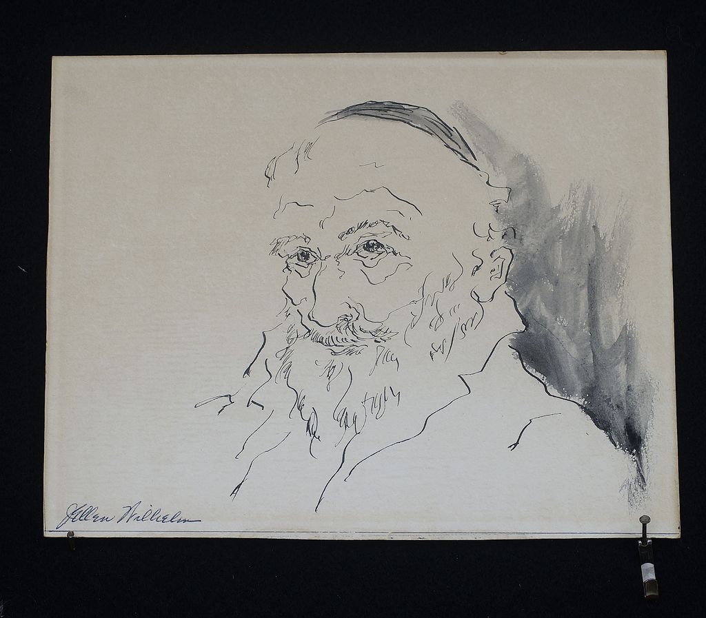 "Vintage Ink Drawing on board ""Bearded Scholar"" two sided work"