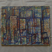60's Vintage New York Modern Oil Painting