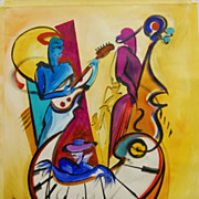 "SALE Alfred Gockel ""Midnight Jazz"" Original Acrylic on Canvas"