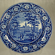 Historic Blue and White Plate, City Hall New York, J&W Ridgeway