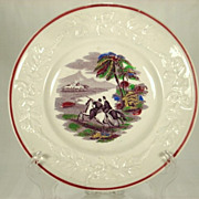 19th Century Children's Plate with Horse Men/Hunters