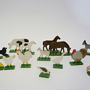 Vintage Wooden Farm Animals Set of 15