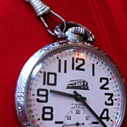 Vintage Pocket Watch 17 Jewels Incabloc Train Silver on chain