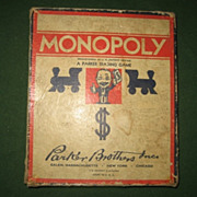 1936 Monopoly board game with wood parts Parker Brothers