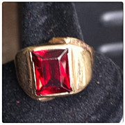 SOLD Mens 10K Gold Ring Hand Wrought Red Garnet Stone Size 11  11.5