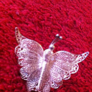Vintage 925 Sterling Butterfly Pin Brooch Beautiful