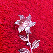 SOLD Vintage Sterling 925 Stamped Silver Flower Brooch Pin