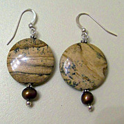 SALE Wonderful Artisan Made Picture Jasper Dangle Earrings Sterling French Hooks