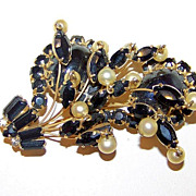 SALE Vintage Jet Black Glass and Faux Pearls Vintage Large Brooch