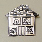 SALE Vintage Mexico 925 Sterling Silver School House and Students Brooch