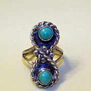 SALE Wonderful Vintage Sterling Silver and Natural Turquoise Ladies Ring Size 5 3/4
