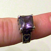 SALE Lovely Vintage Amethyst and Sterling Silver Ladies Ring Size 6