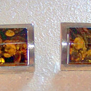 SALE Vintage Amber and 925 Sterling Silver Earrings Loads of Inclusions