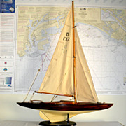 SALE Wood Dragon Class Model Sailboat with Stand