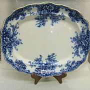 Stunning Flow Blue Platter, Burgess & Leigh Athol, gold trim