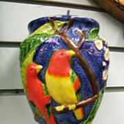 Japanese wall pocket vase with parrots