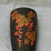 Large Japanese wall pocket, leaf & grape pattern