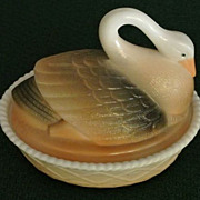 Rare Westmoreland Open-neck hand-painted milkglass swan candy dish