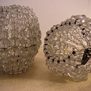 Pair Beaded Lamp Bulb Covers 1915-20's