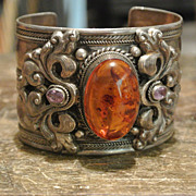 Vintage Amber in Sterling Large Cuff w/Flourishes