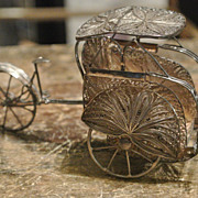 Vintage .900 Filigree Silver Rickshaw Art Nouveau Decorative Carriage