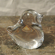 SALE Vintage Crystal Chick/Duckling French by Daum Decor Paperweight Statuette