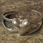 SALE Vintage Taxco Sterling Silver Heart Bracelet, Mexico