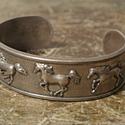 Kabana Sterling Cuff Bracelet &quot;Running Arabians&quot; 925 Vintage
