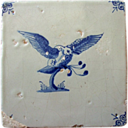 Antique  Delft Tile Owl Hawk 17th c