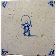 Antique Delft Tile  Child jumping rope