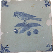 Antique Delft Tile Bird and cherries