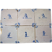 Antique Delft Tiles 6 pieces  17th c. people playing