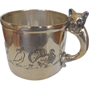 SALE Vintage Silver child's cup Cat Handle & animals