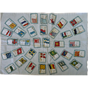 SALE Vintage  Cigar Silks  Flags, Quilt Piece, Pillow Top