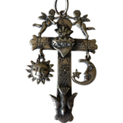 Colonial Spanish Sterlling Cross- Sun, Moon, Cherubs, Dove