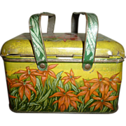 Old Plug Tobacco Lunch Box Poinsettias