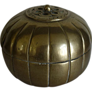 Old Chinese Brass Box pumpkin shape