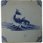 SALE Antique Dutch Delft Dolphin Tile ~ blue & white 1700's
